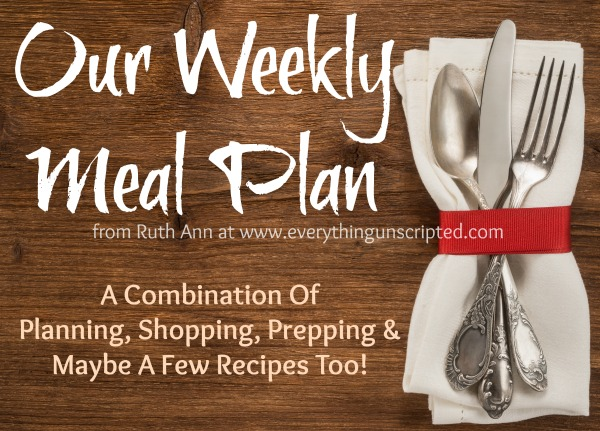 Our Weekly Meal Plan – March 20th